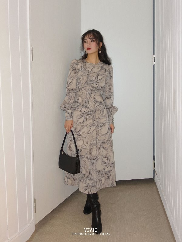 MARBLE PATTERN DRESS (GRAY)