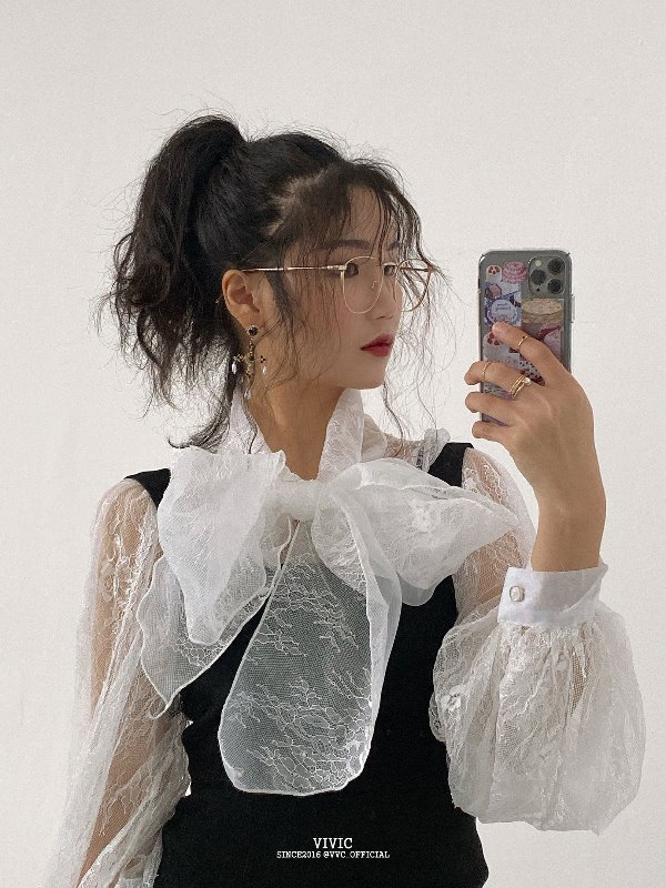 FLORAL SEE-THROUGH LACE RIBBON TIE BLOUSE (WHITE, BLACK 2COLORS!)