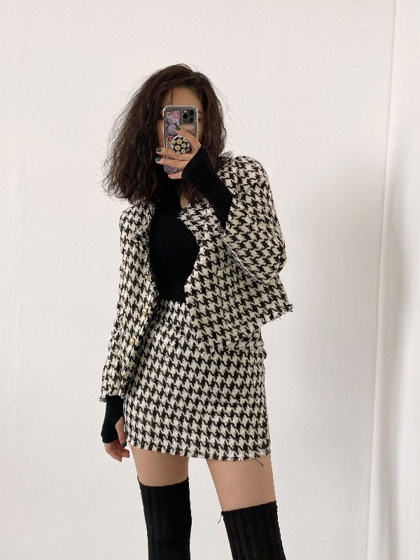 HOUND'S-TOOTH CHECK CROP JACKET & MINI SKIRT SET (BEIGE, BLACK 2COLORS!) *개별구매가능!*