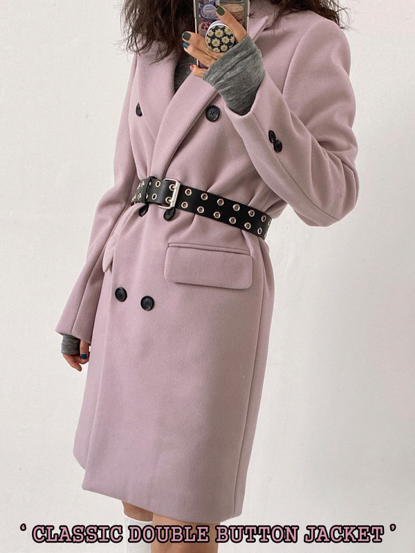 CLASSIC DOUBLE BUTTON COAT&DRESS (VIOLET, GRAY, BLACK 3COLORS!)