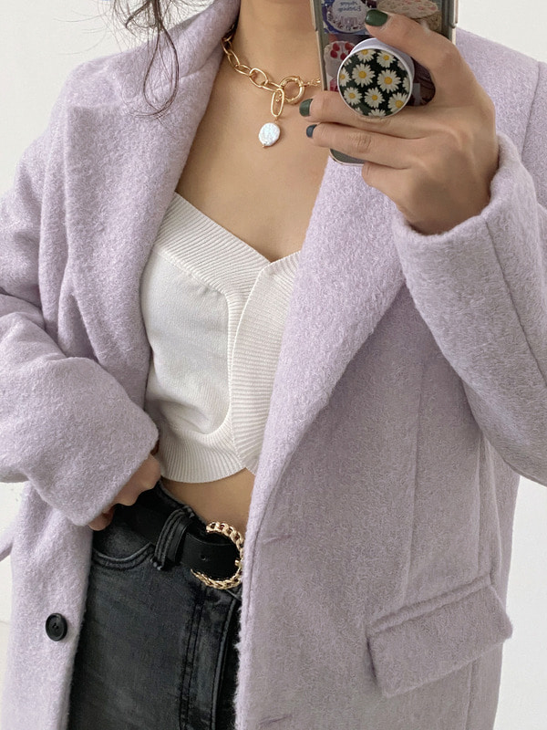 TWO BUTTON SINGLE JACKET (IVORY, VIOLET, BLACK 3COLORS!)