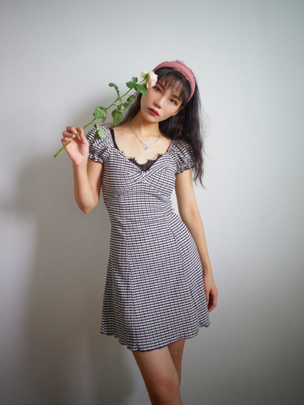 ZIA CHECK TWIST PUFF DRESS (YELLOW GREEN, BLACK 2COLORS!)