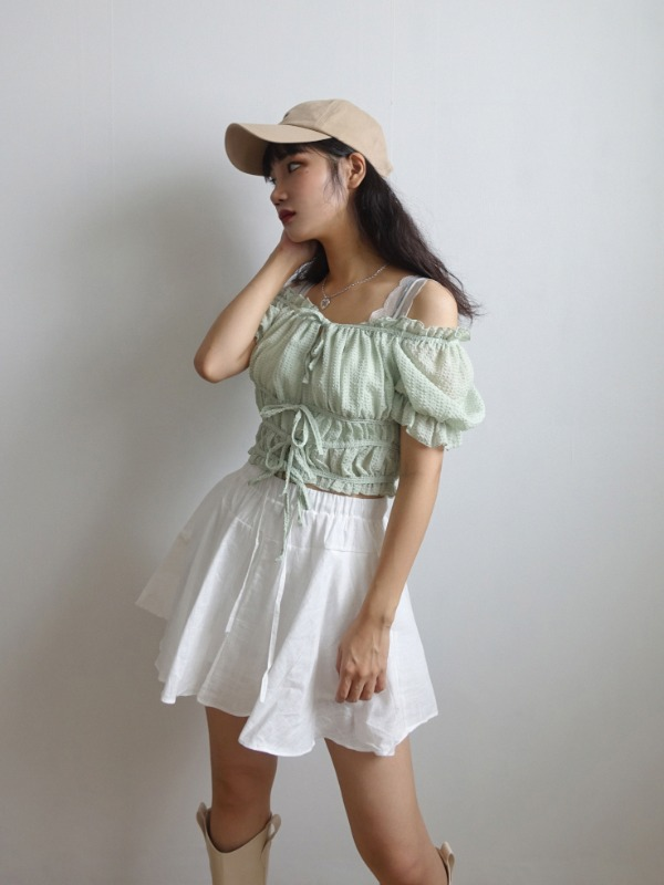 EMMA CORSET STRING CROP BLOUSE (IVORY, PEACH, MINT 3COLORS!)