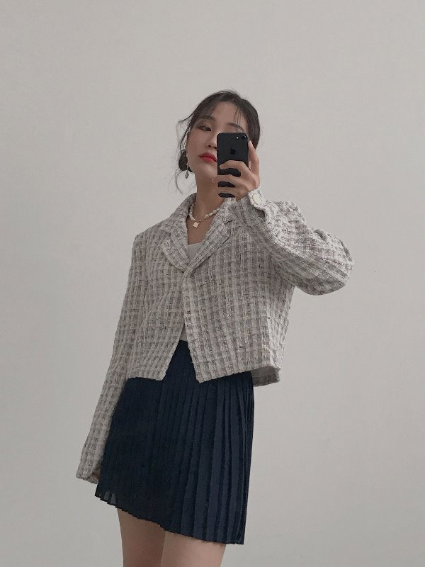 COCO ONE BUTTON TWEED JACKET (IVORY, SORA 2COLORS!)