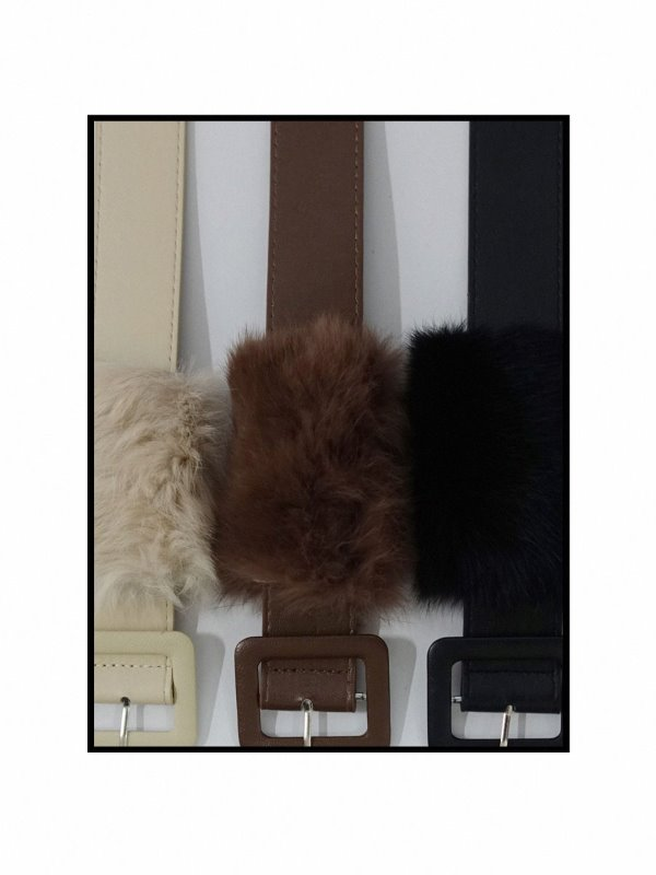 REAL RABBIT FUR BELT (IVORY, BROWN, BLACK 3COLORS!)