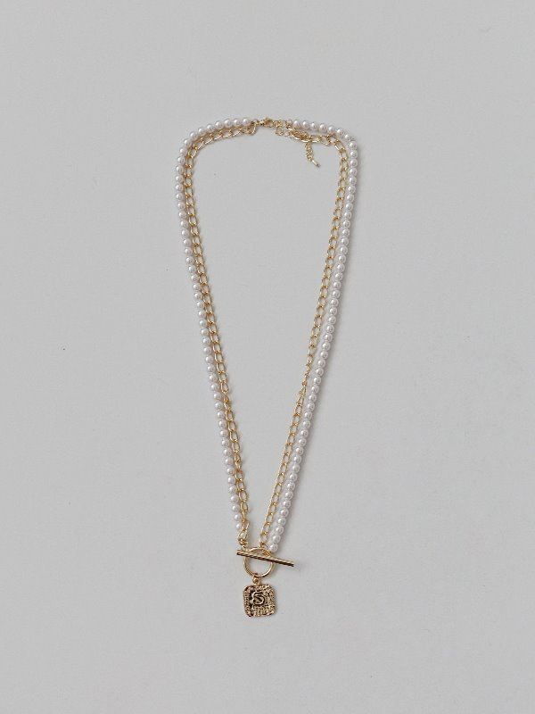PEARL CHAIN NUMBER PENDANT LOOP NECKLACE
