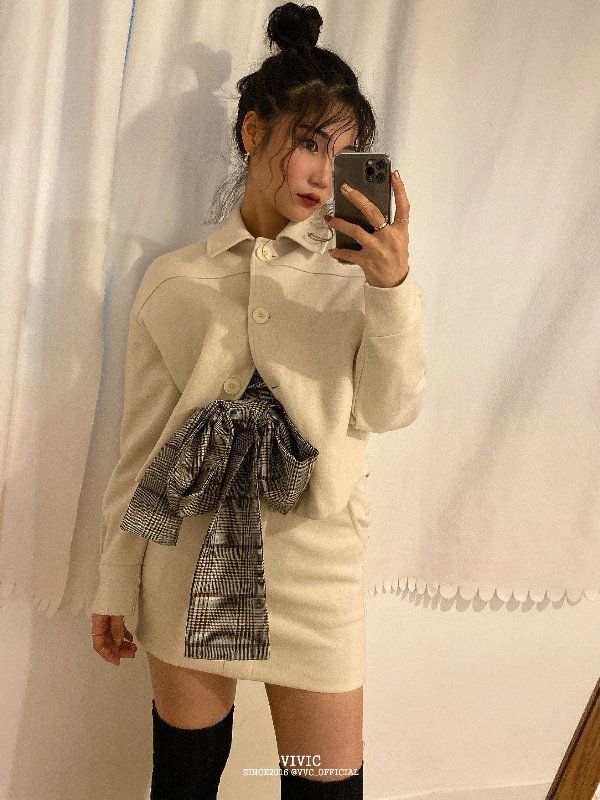 MONOCLE JACKET & PEPLUM SKIRT SET (IVORY, BLACK 2COLORS!) *개별구매가능!*