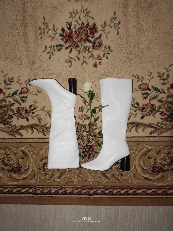 SELLY FAKE LEATHER LONG BOOTS (WHITE, BLACK 2COLORS!)