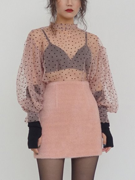 SHEER DOT PUFF BLOUSE (PINK, BLACK 2COLORS!)