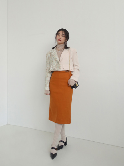 FETS SLIT SKIRT (BEIGE, ORANGE, BLACK 3COLORS!)