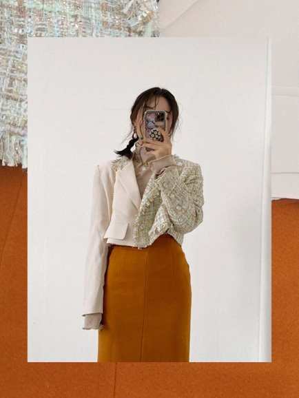 HALF TWEED CROP JACKET (BEIGE, BLACK 2COLORS!)