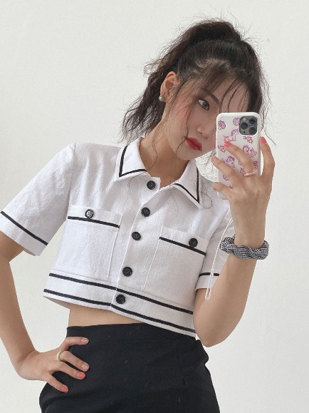 TAPING POCKET CROP BLOUSE (WHITE, PINK 2COLORS!)