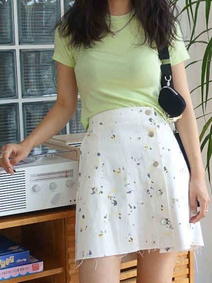 PAINTING BUTTON SKIRT (IVORY, MINT 2COLORS!)