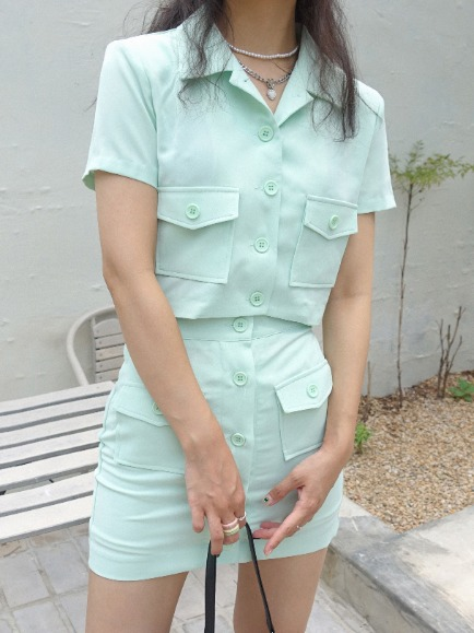 CONA POCKET BUTTON CROP JACKET (MINT, BLACK 2COLORS!)
