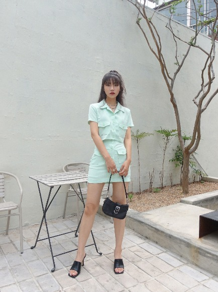 CONA POCKET BUTTON UP MINI SKIRT (MINT, BLACK 2COLORS!)
