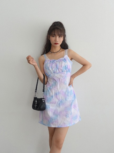 TIE-DYE VOLUME SHIRRING MINI DRESS (MINT, PURPLE 2COLORS!)