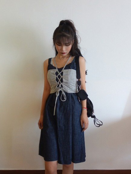HERSHEY DENIM DRESS (BLUE, NAVY 2COLORS!)