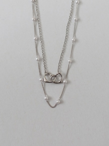 HEART TO HEART NECKLACE SET (SILVER, GOLD 2COLORS!)