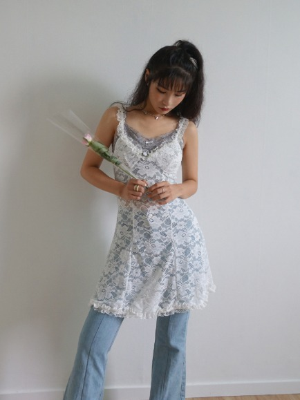 LACE LAYERED ROSE FRILL DRESS (WHITE, BLACK 2COLORS!)
