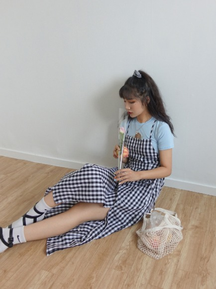 GINGHAM CHECK BACKLESS DRESS