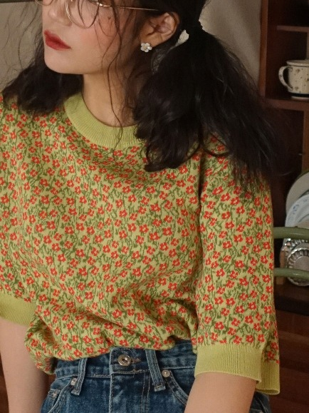 COUNTRY FLORET KNIT (ORANGE RED, YELLOW GREEN 2COLORS!)