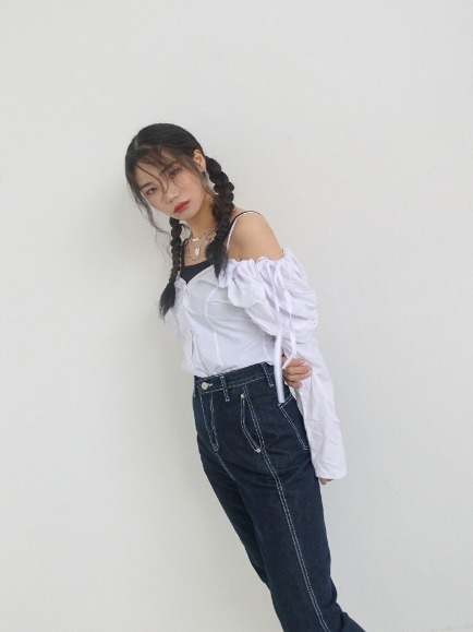 STRING OFFSHOULDER BLOUSE (WHITE, BLUE 2COLORS!)