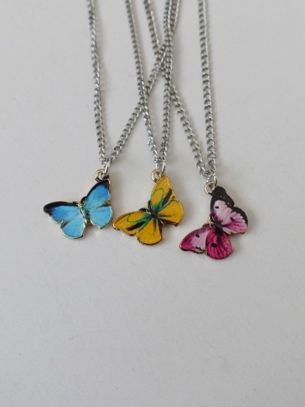 COLOR BUTTERFLY PENDANT NECKLACE (YELLOW, PINK, BLUE 3COLORS!)