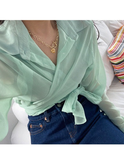 WRAPING SEE-THROUGH BLOUSE (WHITE, PINK, MINT, BLUE, BLACK 5COLORS!)