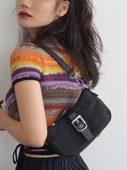 BLACK BUCKLE MINI HOBO BAG