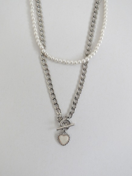 VINTAGE CHAIN NECKLACE & PEARL NECKLACE SET