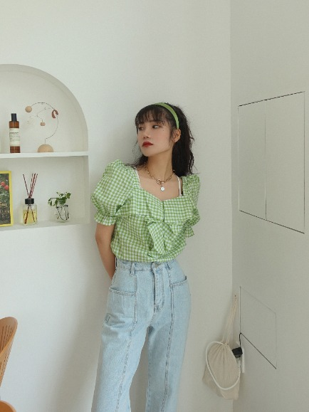 GINGHAM CHECK FRILL BLOUSE (YELLOW GREEN, ORANGE, BLACK 3COLORS!)