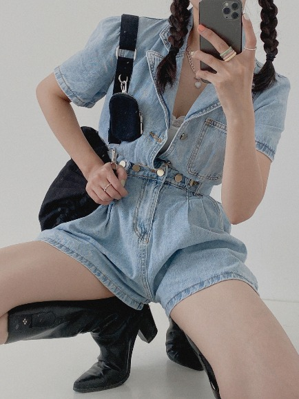DDODDO COLLAR DENIM HALF JUMPSUIT