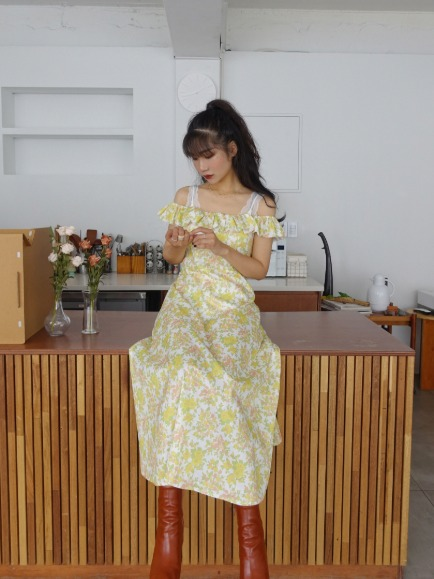SUNFLOWER FRILL DRESS