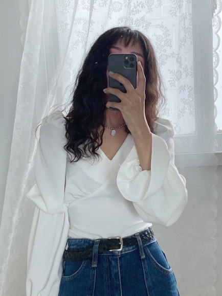 ELIA PUFF BLOUSE (WHITE, BLACK 2COLORS!)