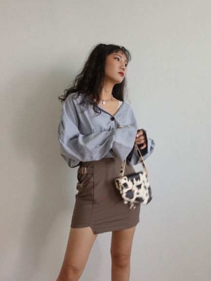 JEWER BUTTON BLOUSE (IVORY, SORA, BROWN, BLACK 4COLORS!)