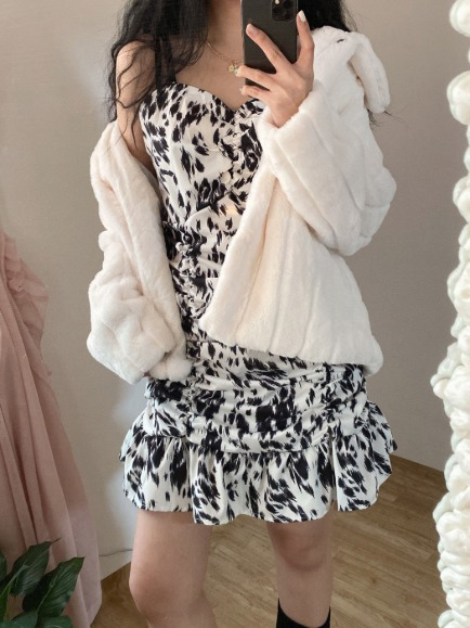 COW SHIRRING BUSTIER MINI DRESS